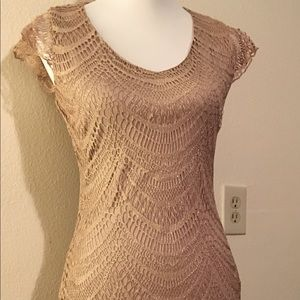 Venus nude and gold shimmer dress